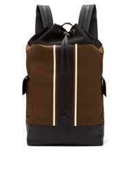 Bottega Veneta Striped Leather Trimmed Canvas Backpack Khaki