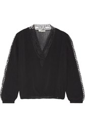 Alice Olivia Kaitlyn Lace Trimmed Stretch Chiffon Blouse Black