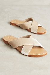 Anthropologie Mystique Velvet Slide Sandals Ivory