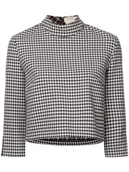 Nicole Miller Cropped Vichy Blouse Black