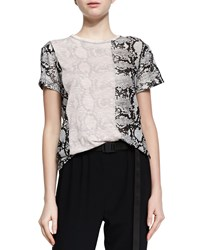Proenza Schouler Short Sleeve Two Tone Python Print Tee Nude Black White