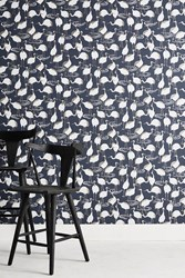 Dwellstudio Cranes Wallpaper Navy