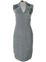 D.Exterior V Neck Fitted Dress Polyamide Spandex Elastane Viscose Wool L Grey