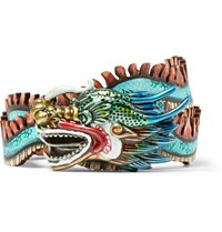 Gucci 3Cm Hand Painted Leather Belt Blue