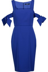 Badgley Mischka Bow Embellished Stretch Cady Dress Royal Blue
