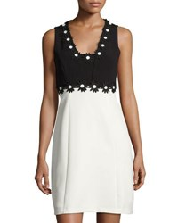 Taylor Colorblock Daisy Trim Crepe Dress Black White