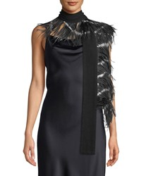Dries Van Noten Feather And Cashmere Scarf Black