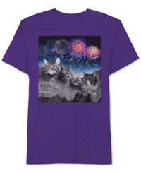 Jem Men's Cat Rushmore Graphic Print T Shirt Purple