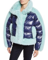 Opening Ceremony Daydreamer Puffer Jacket W Faux Fur Trim Blue