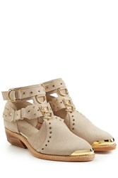Balmain Suede Ankle Boots Beige