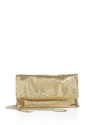 Whiting And Davis Snake Head Foldover Convertible Clutch Gold
