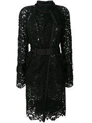 Sacai Sheer Lace Trench Coat Cotton Nylon Rayon Black