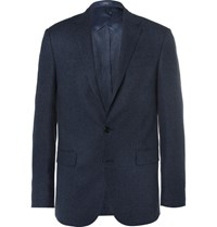 Polo Ralph Lauren Blue Slim Fit Tick Weave Wool And Silk Blend Blazer Blue
