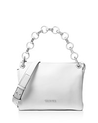 Michael Michael Kors Gianna Convertible Medium Leather Messenger Optic White Silver
