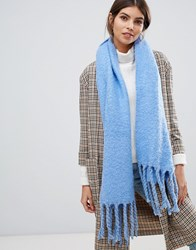 Oasis Knitted Scarf With Tassels In Blue Mid Blue