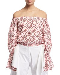 Alexis Micael Embroidered Off The Shoulder Top Red White Red Pattern