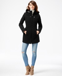 Laundry By Design Faux Fur Lined Quilted Velour Coat Black