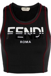 Fendi Stretch Jersey Sports Bra Black