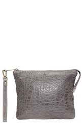Will Leather Goods 'Opal' Large Grain Leather Wristlet Grey