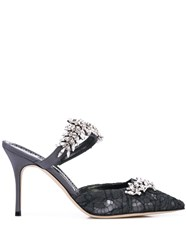 Manolo Blahnik Gemstone Embellished Mules Grey