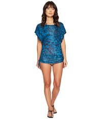 Lucky Brand Batik Chic Knit Shirred Tunic Cover Up Ink Blue Women's Swimwear