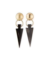 Akola Black Horn Arrow Earrings Black Gold