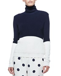 Ralph Lauren Colorblock Turtleneck Sweater Navy Cream Navy Ivory Women's