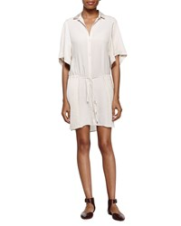 Halston Casual Belted Shift Dress Shell White