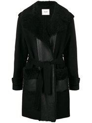 Max And Moi Shearling Collar Belted Coat Black