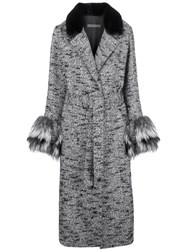 Simonetta Ravizza Fur Detail Belted Coat Grey