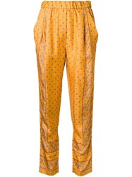 3.1 Phillip Lim Friendship Knot Print Trousers Yellow And Orange