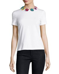 Mary Katrantzou Short Sleeve Tee W Daisy Appliques White