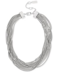 Kenneth Cole New York Silver Tone Multi Chain Collar Necklace