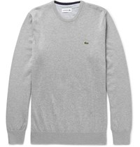 Lacoste Slim Fit Knitted Cotton Sweater Gray