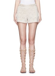 Alice Olivia 'Susi' Geometric Crochet Lace Shorts White