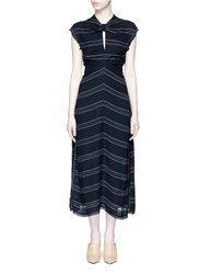 Proenza Schouler Tie Open Back Pinstripe Crepe Dress Black
