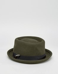 Asos Pork Pie Hat With Feather Band In Khaki Green
