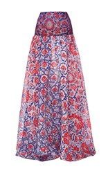 Sandra Mansour Lace And Printed Ottoman Gazar Skirt Pink