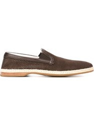 Dolce And Gabbana Perforated Espadrilles Brown