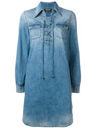 Roberto Cavalli Lace Up Denim Shirt Dress Blue