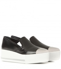 Miu Miu Leather Platform Slip On Sneakers Black
