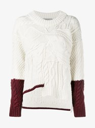 Preen Line Asymmetric Cable Knit Wool Sweater Brown Cream Burgundy