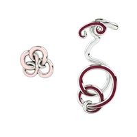 1986 Wiggle Wiggle Twist And Hug Wine Red And Rhodium Red Silver Pink