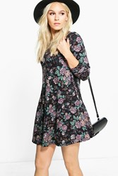 Boohoo Phillis Floral Brushed Knit Swing Dress Grape