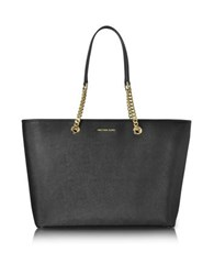 Michael Kors Jet Set Travel Chain Medium Black T Z Saffiano Leather Multifunction Tote