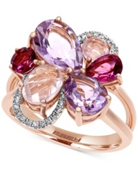 Effy Collection Mosaic By Effy Diamond Accent And Multi Stone Flower Ring In 14K Rose Gold