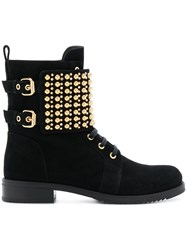 Loriblu Studded Ankle Boots Suede Rubber Leather Black