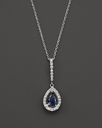 Bloomingdale's Sapphire And Diamond Teardrop Pendant Necklace In 14K White Gold 17 White Blue