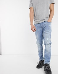 Celio Jeans In Slim Fit In Bleached Wash Blue