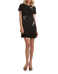 Trina Turk Boatneck Short Sleeve Dress Black